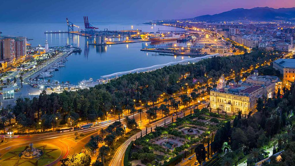 Views of Malaga at night