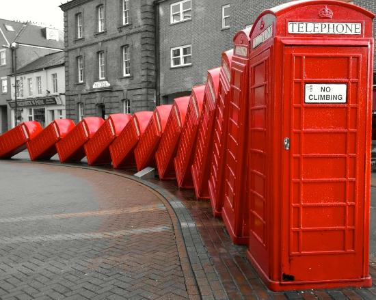 Falling phone boxes in Kingston